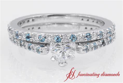 simple design heart diamond  blue topaz wedding ring