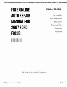 Free Online Auto Repair Manual For 2007 Ford Focus By