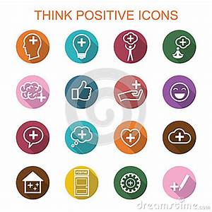 Think Positive Long Shadow Icons Editorial Stock Photo ...