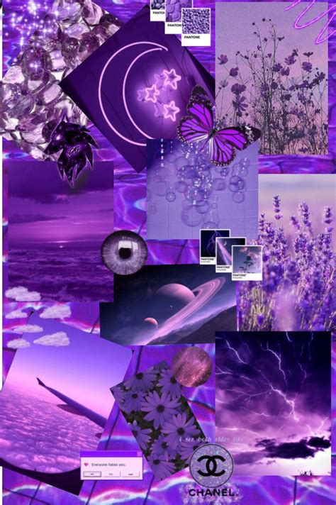 pin  aesthetic pics wall collage purple