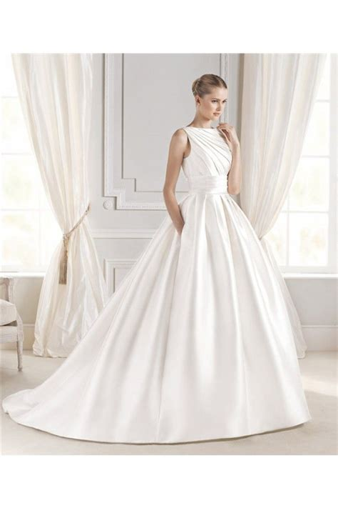 ball gown boat neck satin ruched wedding dress