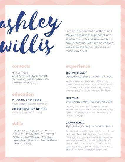 pink blue script creative makeup artist resume templates