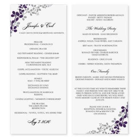 wedding program template exquisite vines eggplant silver tea length microsoft word