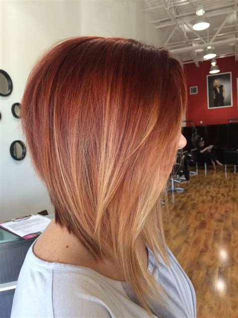 dramatic inverted bob  red ombre gorg