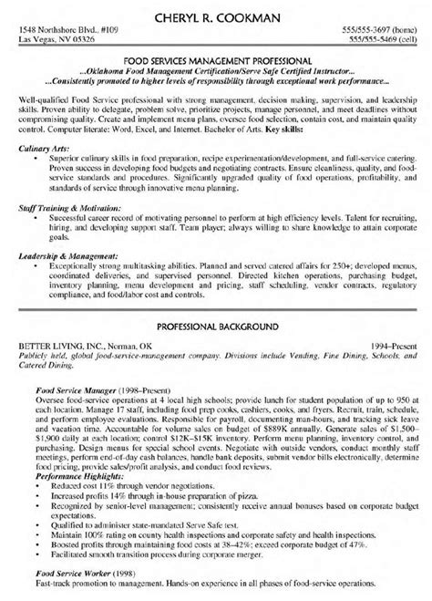 exemple am駭agement cuisine 5 food service manager resume exles and resume template