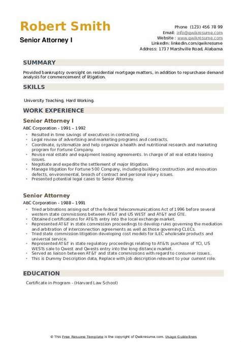 senior attorney resume samples qwikresume