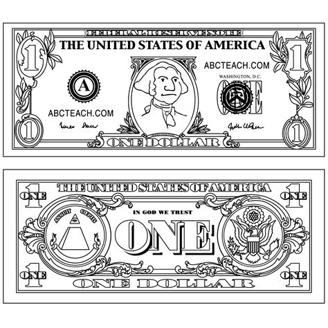 five dollar bill clipart black and white clip five dollar bill outline b w abcteach
