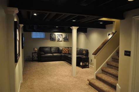 painted joist basement locker room