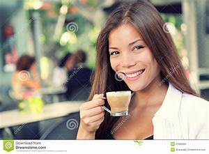 People On Cafe - Woman Drinking Coffee Stock Image - Image ...