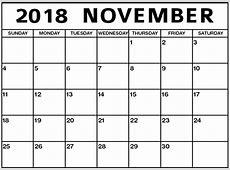 November 2018 Calendar A4 Calendar Template Letter