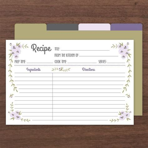 printable recipe cards  instant  templates