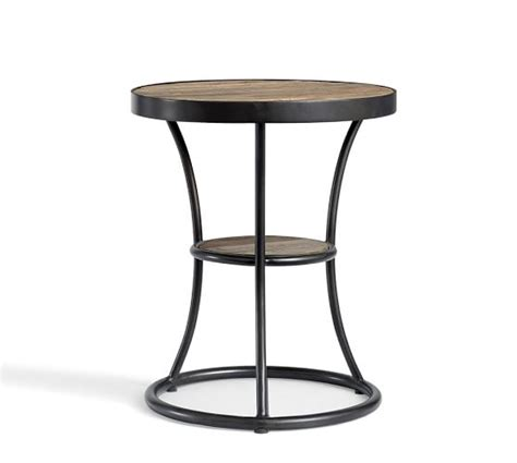 wood and metal end tables bartlett reclaimed wood metal side table pottery barn