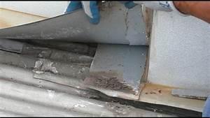 Leaking Roof Repair At Chimney Flashing On Sydney Metal