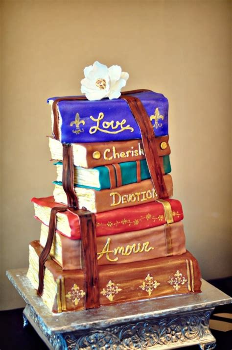 romantic stacked books wedding cake cakecentralcom