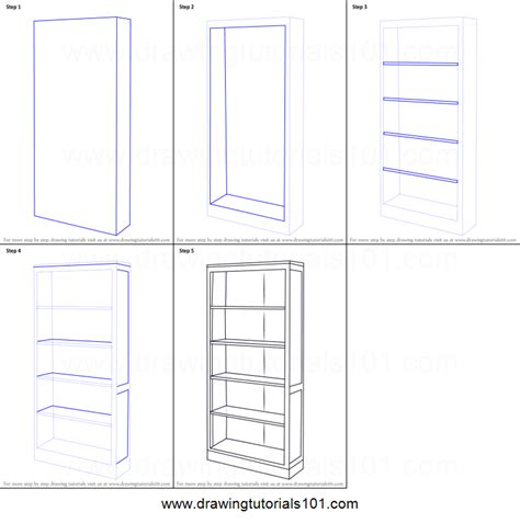 How To Draw A Bookshelf With Books