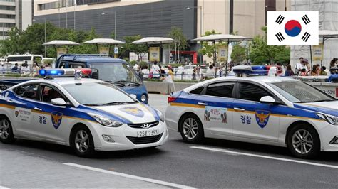 Seoul (south Korea) Older & Newer Police Cars With Lights