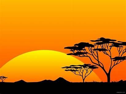 Safari African Sunset Paintings Background Silhouette Animal