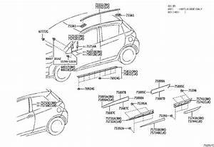 Toyota Yaris Moulding  Rear Door  Outside Upper Rear Left