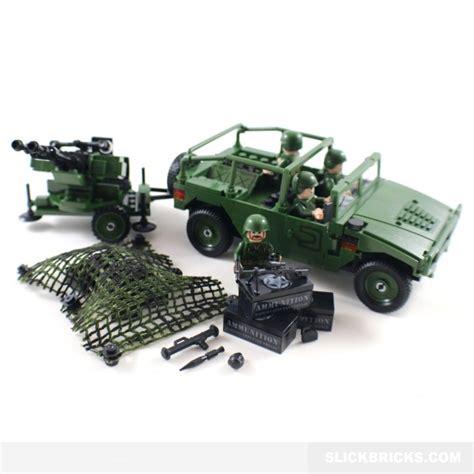 military jeep with gun army jeep and anti aircraft gun slick bricks