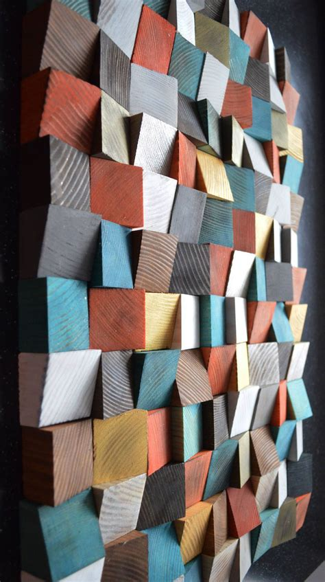 geometric wood art wood art  wall art abstract
