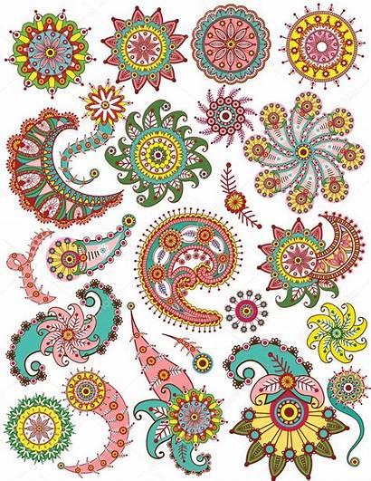 Paisley Floral Ornamental Elements Vector Designs Illustration
