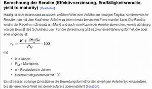 Rendite Berechnen Anleihe : kurs von anleihen allgemeines b rsenwissen wertpapier forum ~ Themetempest.com Abrechnung