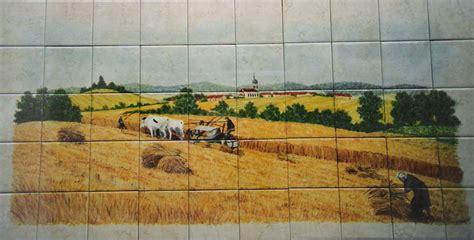 paysage sur faïence décor moderne fresque sur carrelage