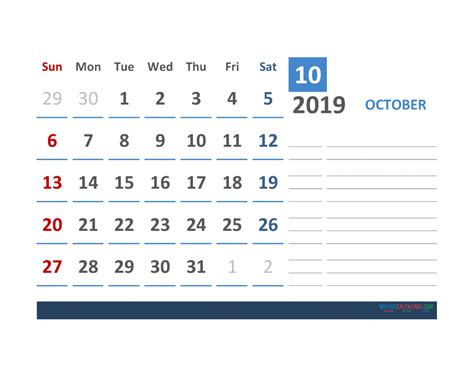 october calendar template space notes