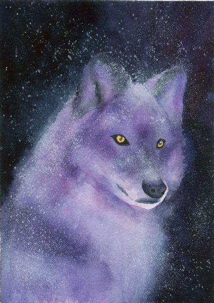 wolf art violette watercolor painting  lorraine