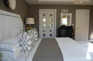 gray bedroom transitional bedroom benjamin moore With kitchen colors with white cabinets with african juju hat wall art
