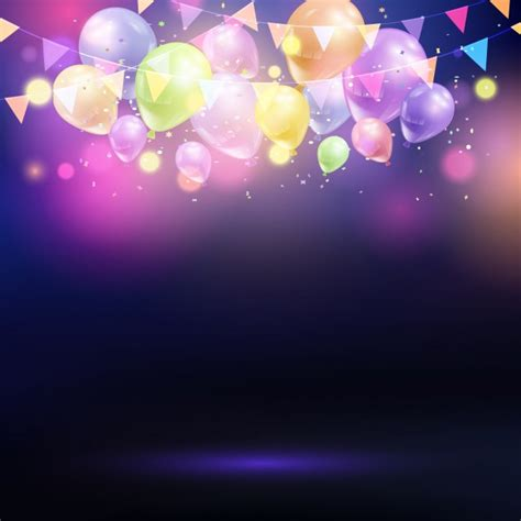 Free Christmas Lights Wallpaper Celebration Background With Balloons And Bunting Vector Free Download