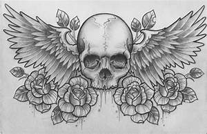 Skull rose wings | Rose reference | Pinterest
