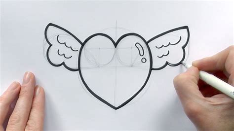 How to Draw a Cartoon Love Heart with Wings