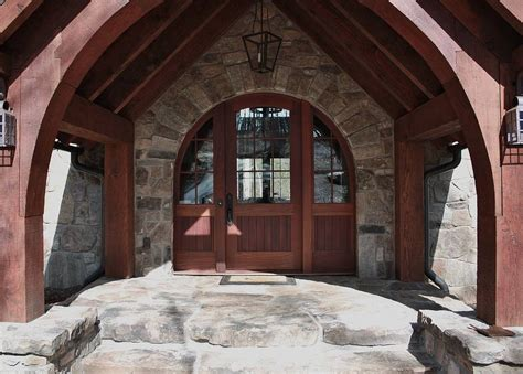 great   rustic double front door designs