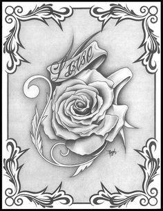 Rose tattoo design black and grey   Black and grey rose