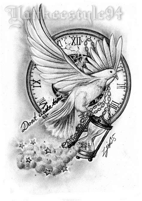 White Dove with an Hourglass TATTOO by Yankeestyle94 on