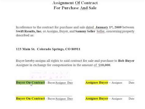 wholesale filling   assignment  contract