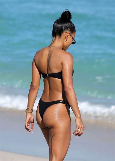 Karrueche Tran Ass & Butt in black bikini on the beach in ...