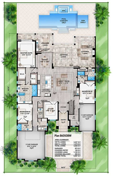 high  florida house plan bw architectural designs house plans