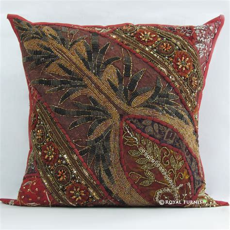 unique throw pillows indian beaded embroidered patchwork decorative throw