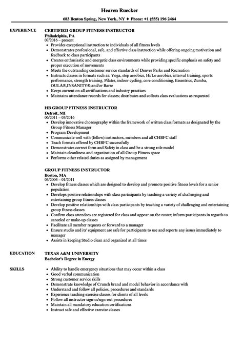 Fitness Instructor Resume fitness instructor resume sles velvet