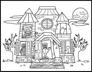 halloween haunted house coloring pages festival collections