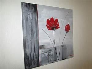 tableau moderne gris et rouge la peinture en abstrait With chambre bébé design avec tableaux fleurs acrylique