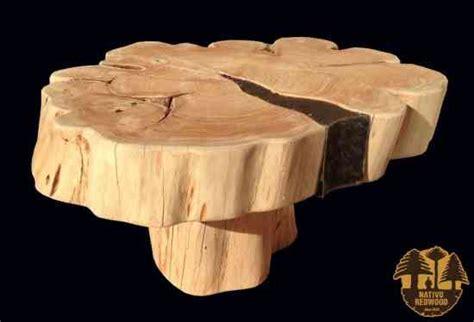 fotos de mesa centro madera rodaja de cipres  fierro