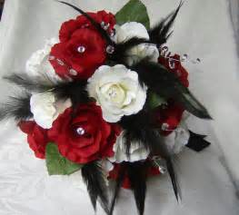 corsage and boutonniere set wedding bouquet set and white roses black feathers gems