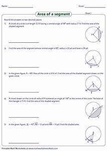 Area Of Segment Worksheets