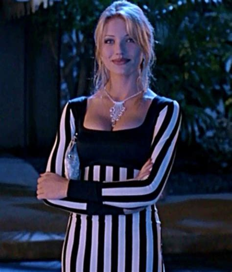 dress cameron diaz black and white beetlejuice sleeve dress stripes the mask bodycon
