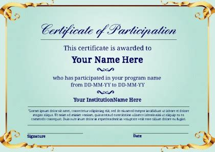 Certificate Of Participation Template Certificate Of Participation Certificate Templates