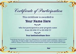 Certificate Of Participation Template Free Certificate Of Participation Certificate Templates