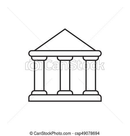 government building outline icon  white background